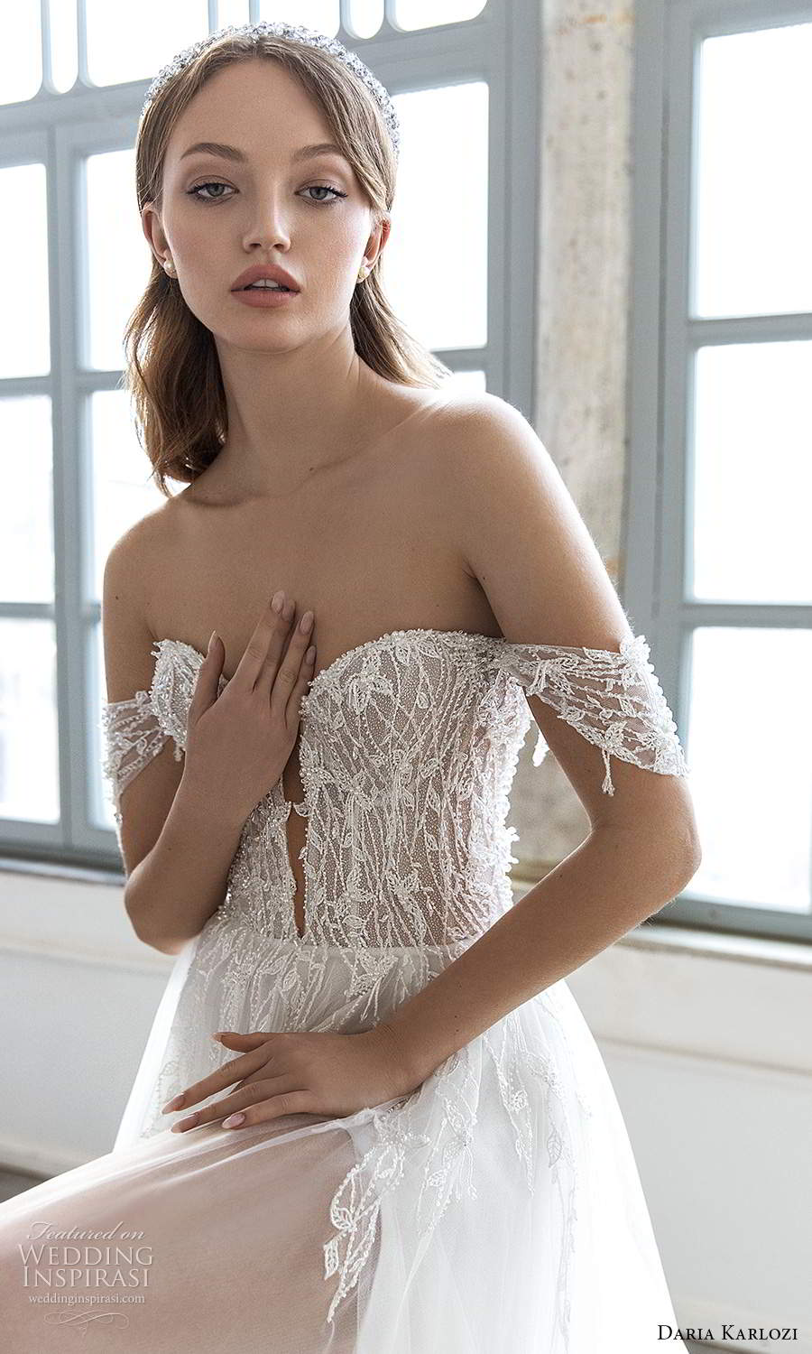 daria karlozi 2021 bridal off shoulder straps plunging sweetheart neckline heavily embellished bodice a line ball gown wedding dress chapel train (12) zv