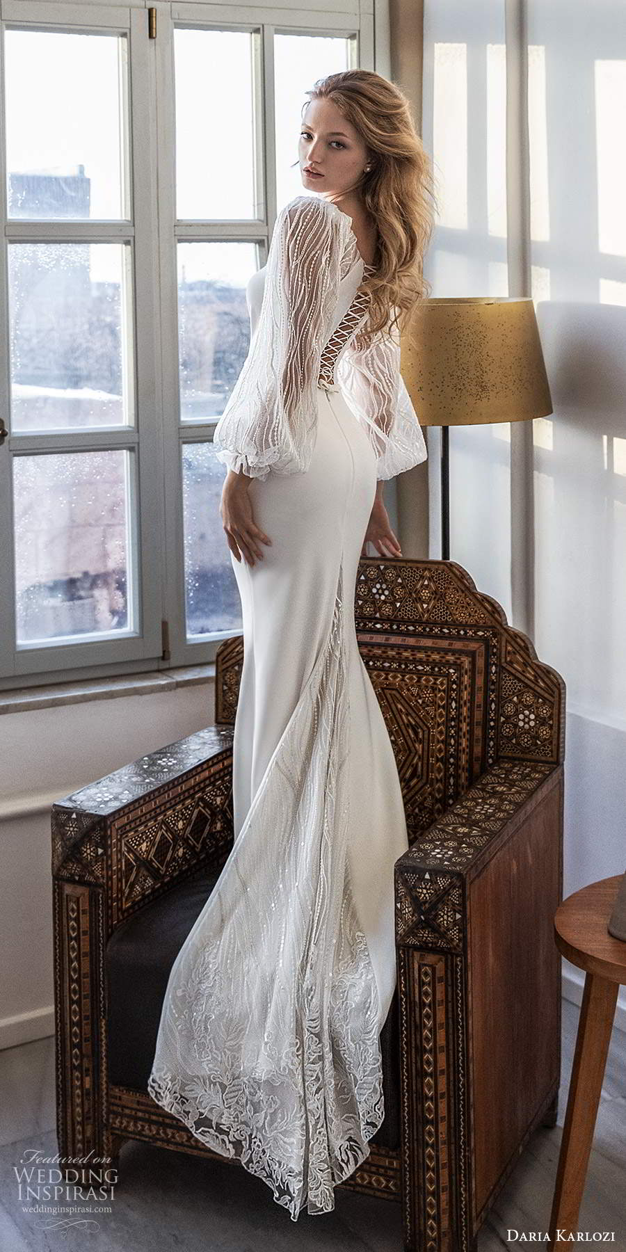 daria karlozi 2021 bridal sheer bishop sleeves plunging neckline clean minimalist sheath wedding dress chapel train (4) bv