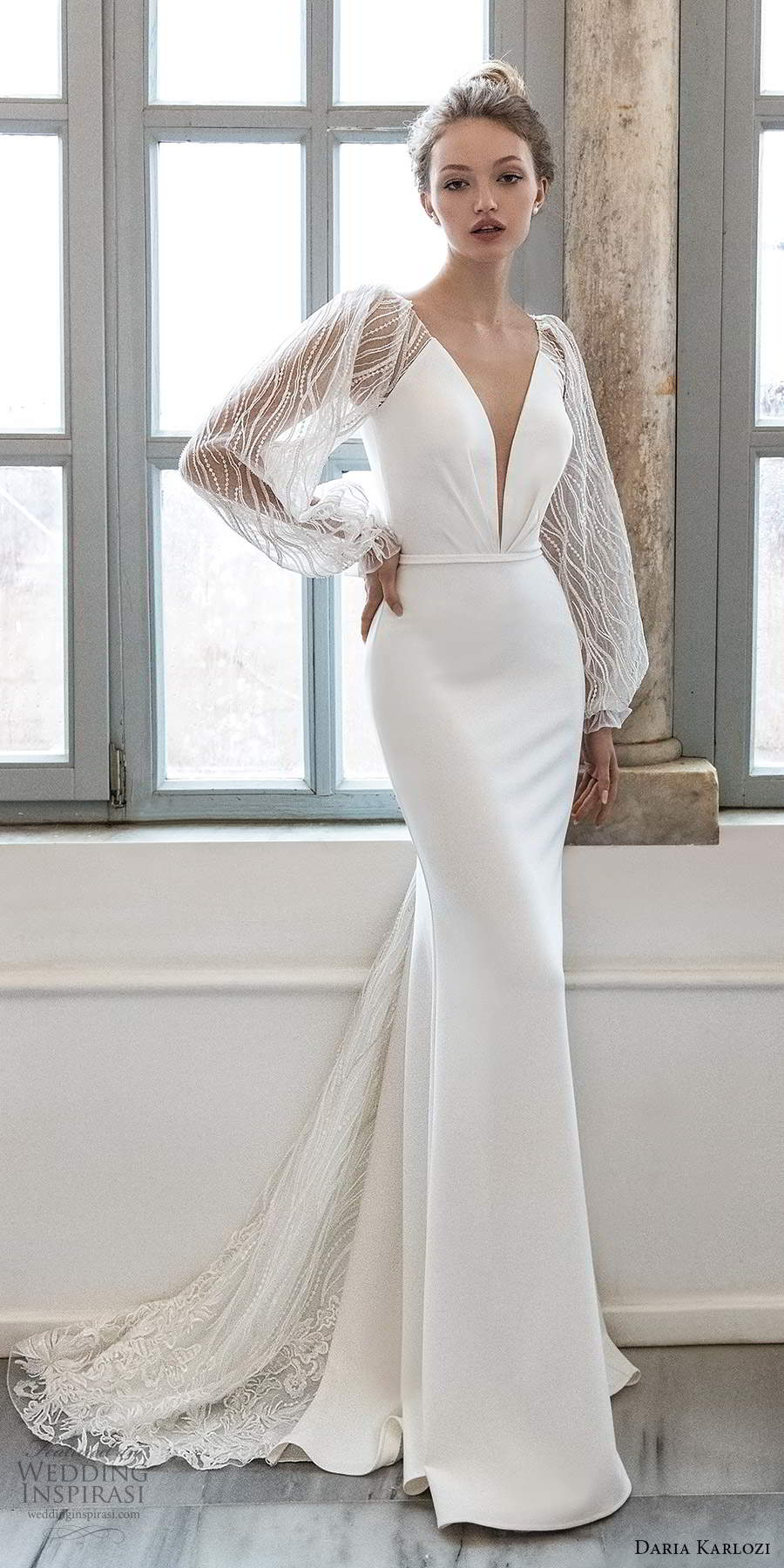 daria karlozi 2021 bridal sheer bishop sleeves plunging neckline clean minimalist sheath wedding dress chapel train (4) mv