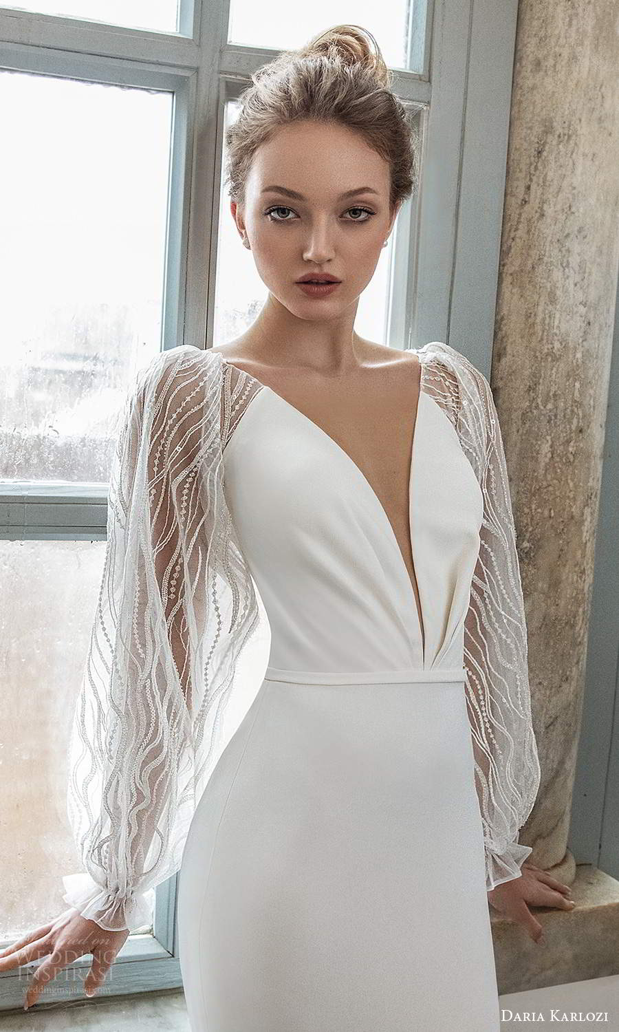 daria karlozi 2021 bridal sheer bishop sleeves plunging neckline clean minimalist sheath wedding dress chapel train (4) zv