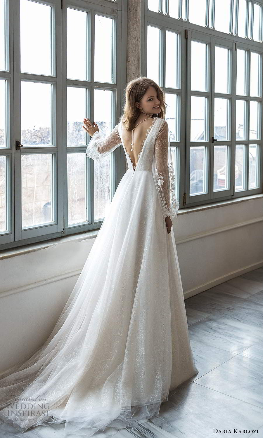 daria karlozi 2021 bridal sheer bishop sleeves v neckline ruched embellished bodice a line ball gown wedding dress boho chapel train (8) bv