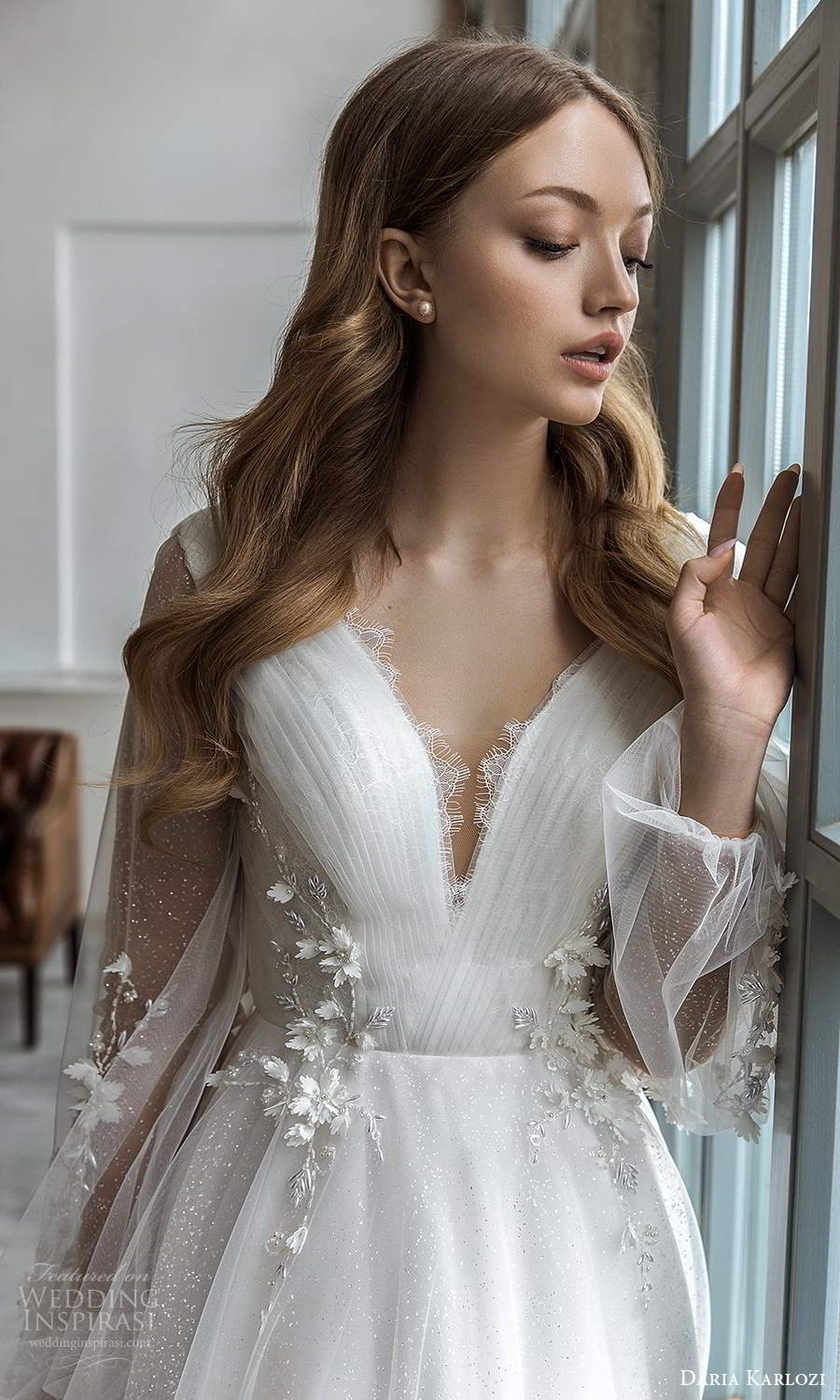 daria karlozi 2021 bridal sheer bishop sleeves v neckline ruched embellished bodice a line ball gown wedding dress boho chapel train (8) zv