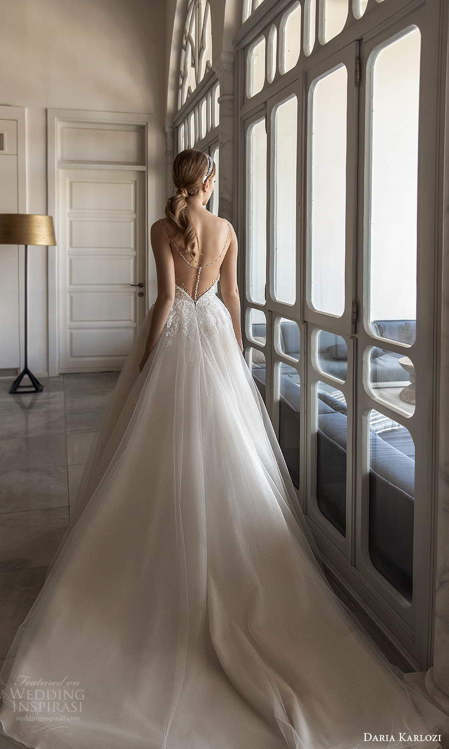 daria karlozi 2021 bridal sleeveless straps heavily embellished bodice a line ball gown wedding dress sheer back chapel train (8) bv