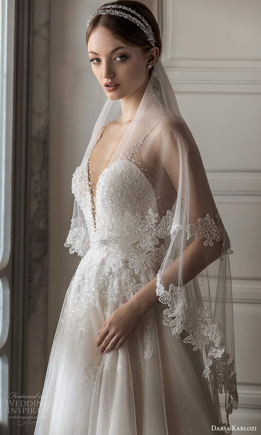 daria karlozi 2021 bridal sleeveless straps heavily embellished bodice a line ball gown wedding dress sheer back chapel train veil (8) zv