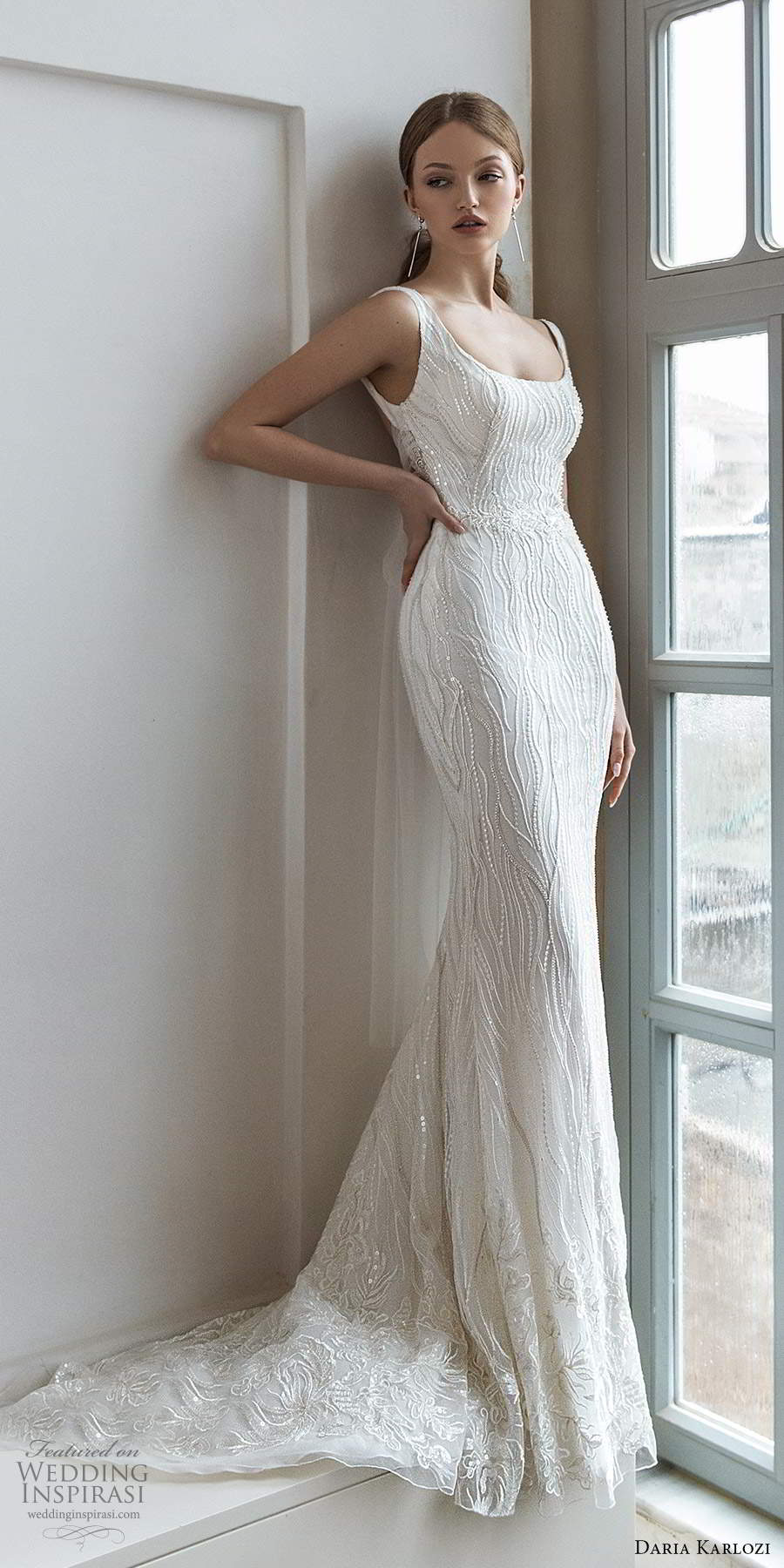 daria karlozi 2021 bridal sleeveless straps scoop neckline fully embellished glam sheath wedding dress chapel train (10) mv