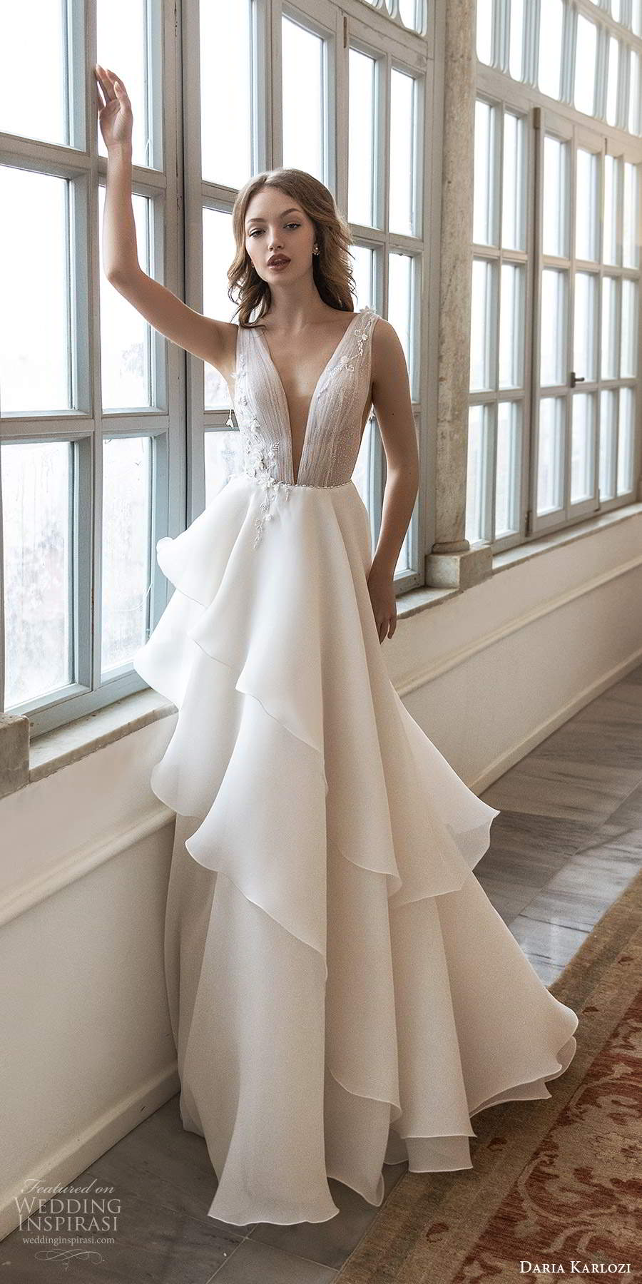 daria karlozi 2021 bridal sleeveless thick straps plunging v neckline ruched bodice a line wedding dress tiered skirt chapel trian (11) mv