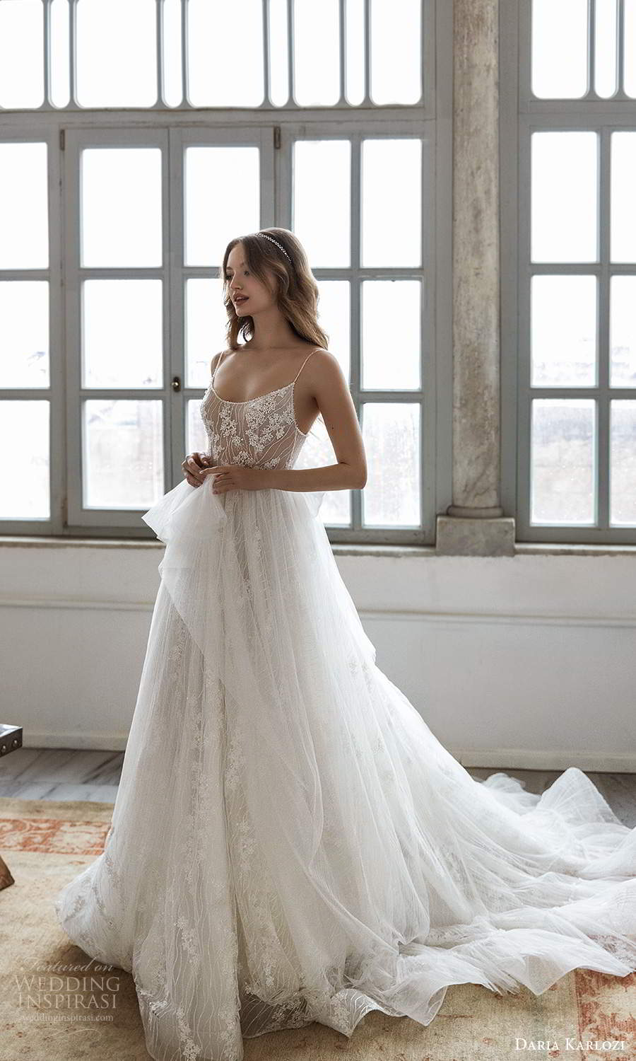 daria karlozi 2021 bridal sleeveless thin straps scoop neck embellished bodice a line ball gown wedding dress ruffle skirt chapel train (9) mv