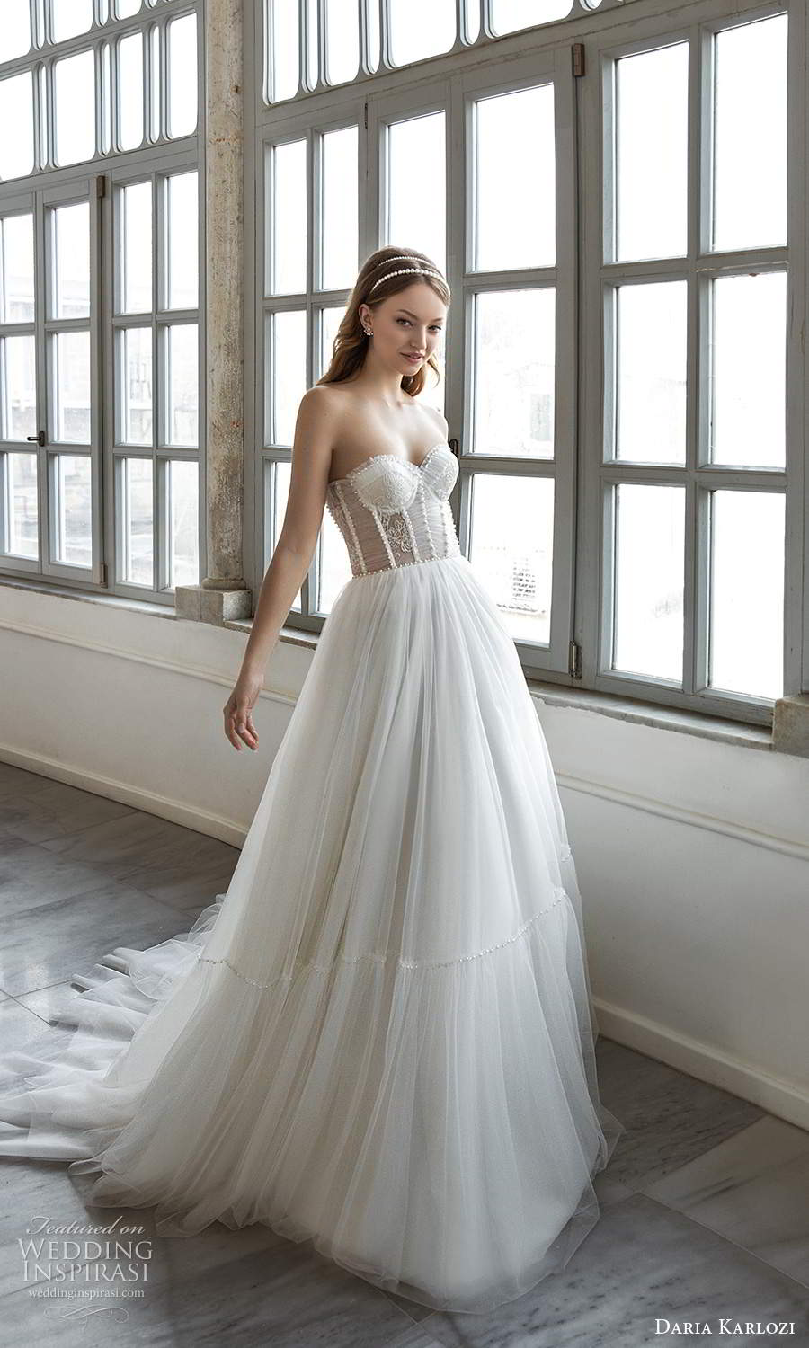 daria karlozi 2021 bridal strapless sweetheart neckline embellished sheer bodice a line ball gown wedding dress chapel train (13) mv