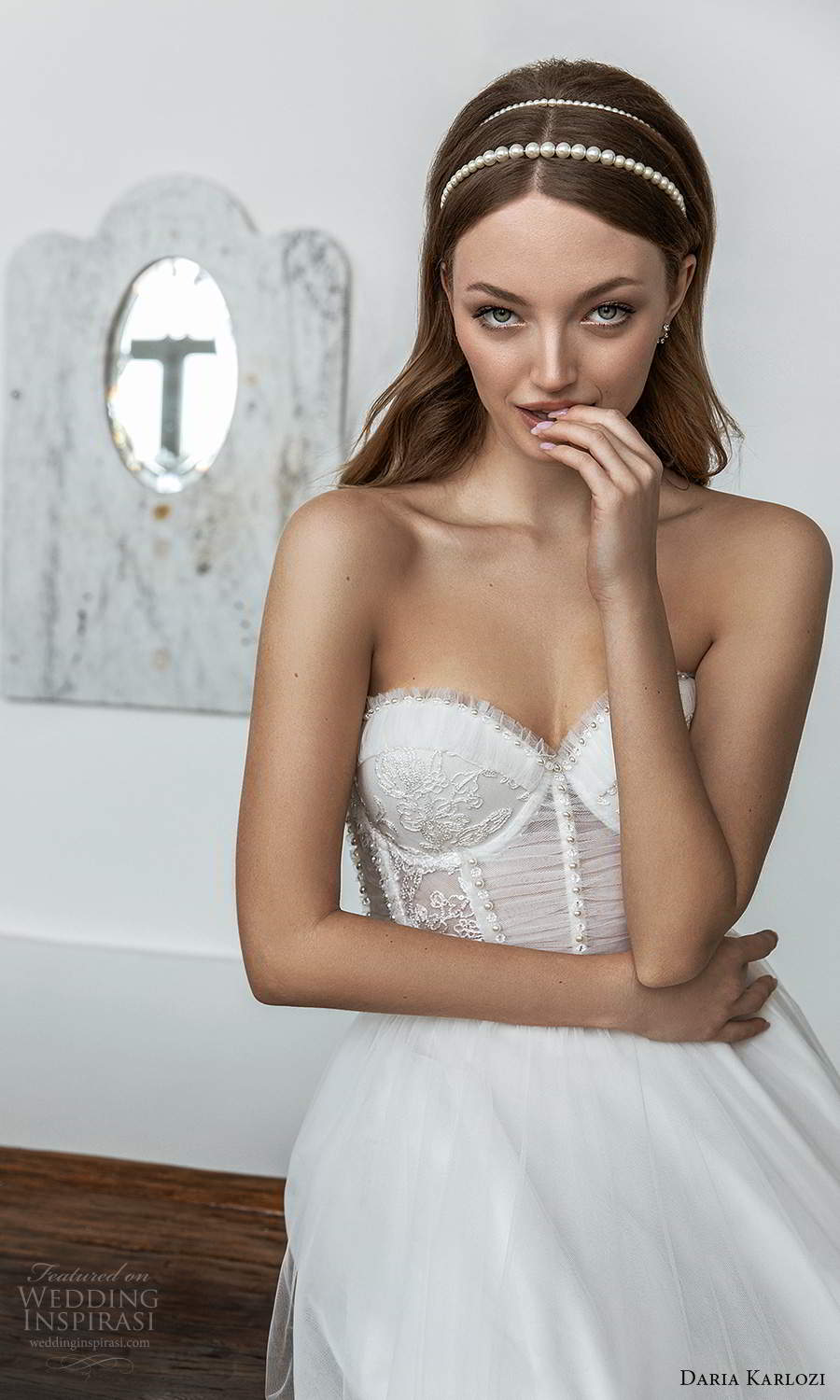 daria karlozi 2021 bridal strapless sweetheart neckline embellished sheer bodice a line ball gown wedding dress chapel train (13) zv