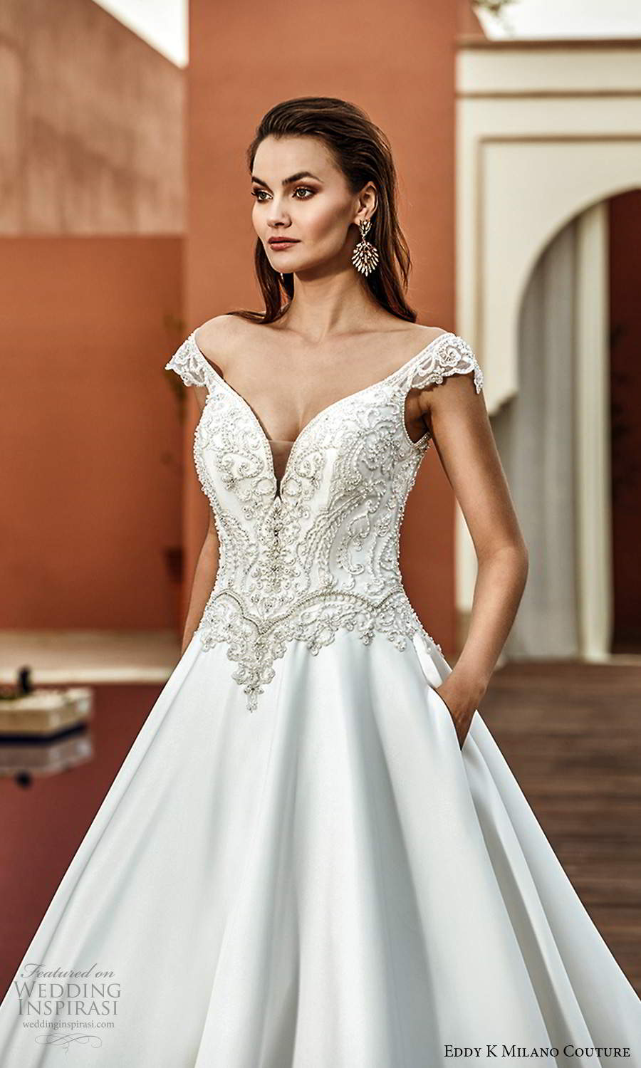 eddy k 2021 milano couture bridal cap sleeves off shoulder v neckline heavily embellished bodice a line ball gown wedding dress chapel train (7) mv