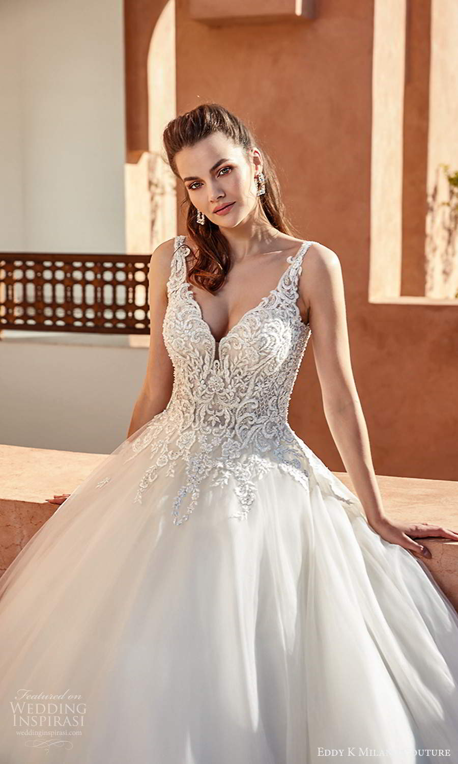 eddy k 2021 milano couture bridal sleeveles straps v neckline heavily embellished a line ball gown wedding dress chapel train (16) zv