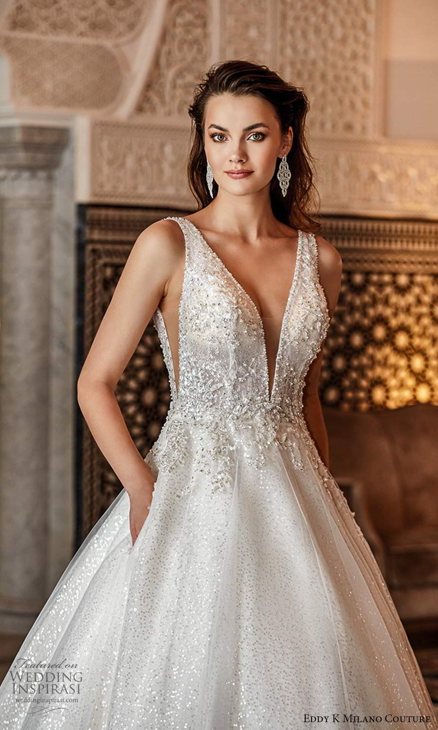 eddy k 2021 milano couture bridal sleeveless straps plunging neckline heavily embellished bodice a line ball gown wedding dress chapel train zv (12) zv