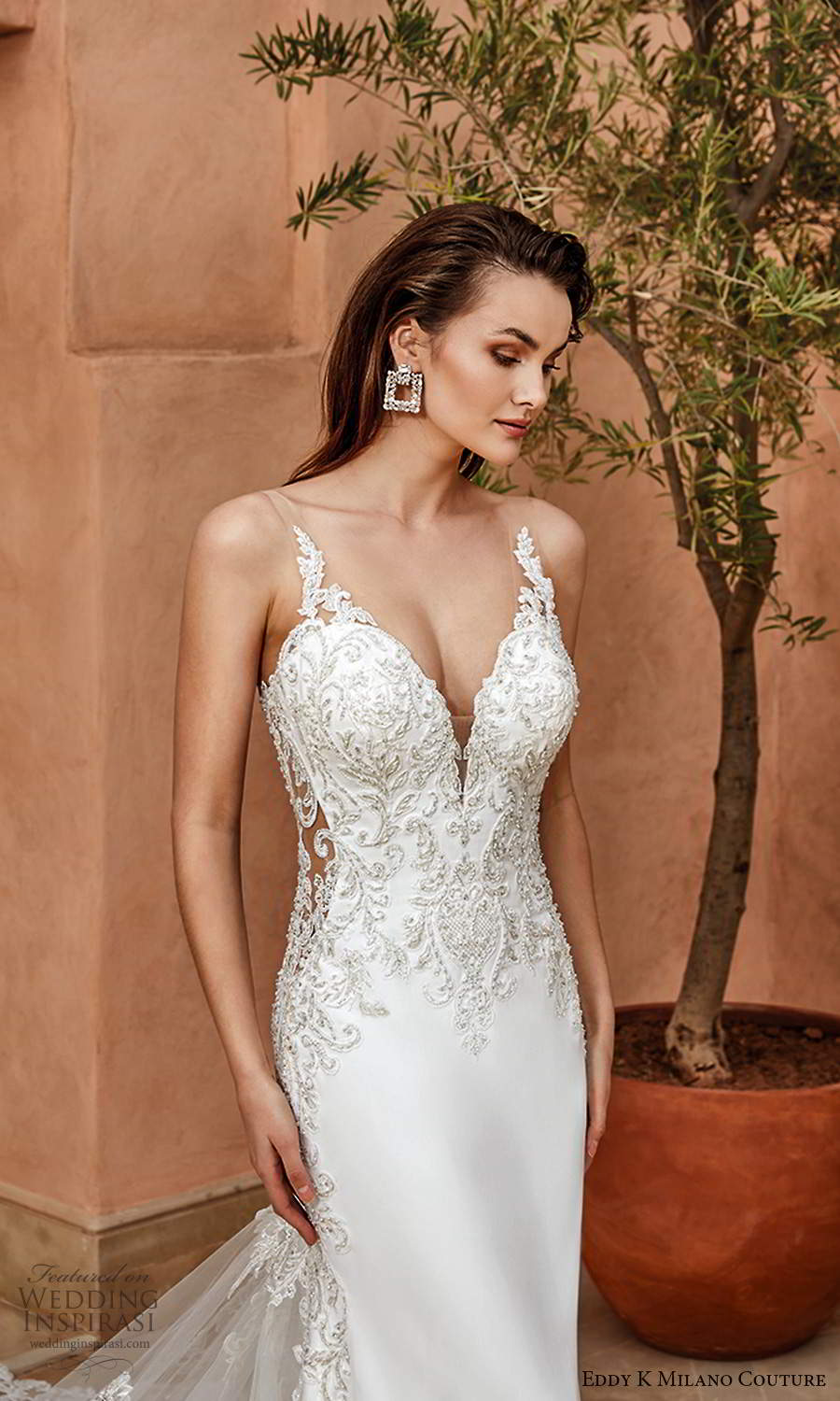 eddy k 2021 milano couture bridal sleeveless straps plunging v neckline heavily embellished bodice sheath wedding dress chapel train (13) zv