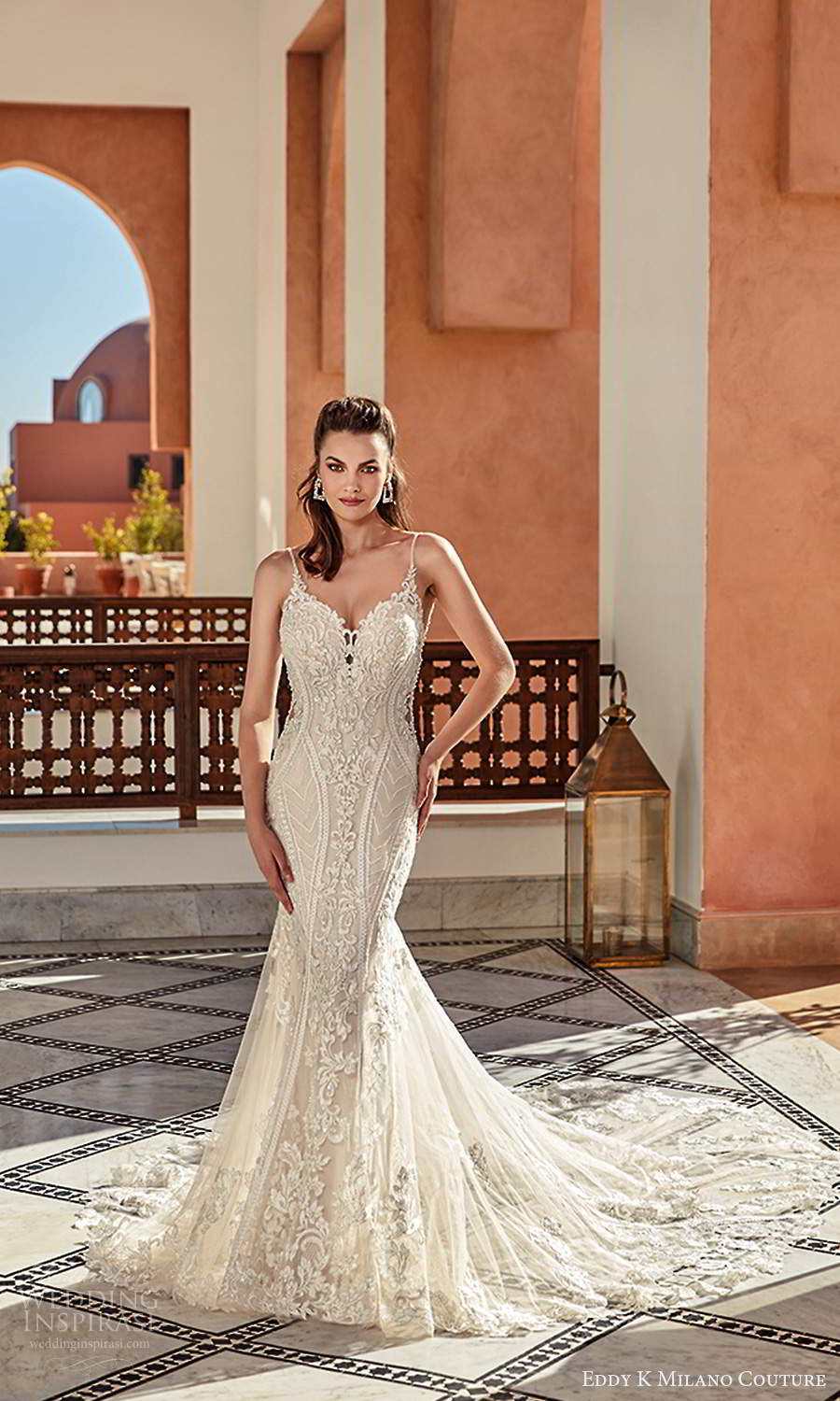 eddy k 2021 milano couture bridal sleeveless thin straps sweetheart neckline fully embellished sheath wedding dress chapel train (8) mv
