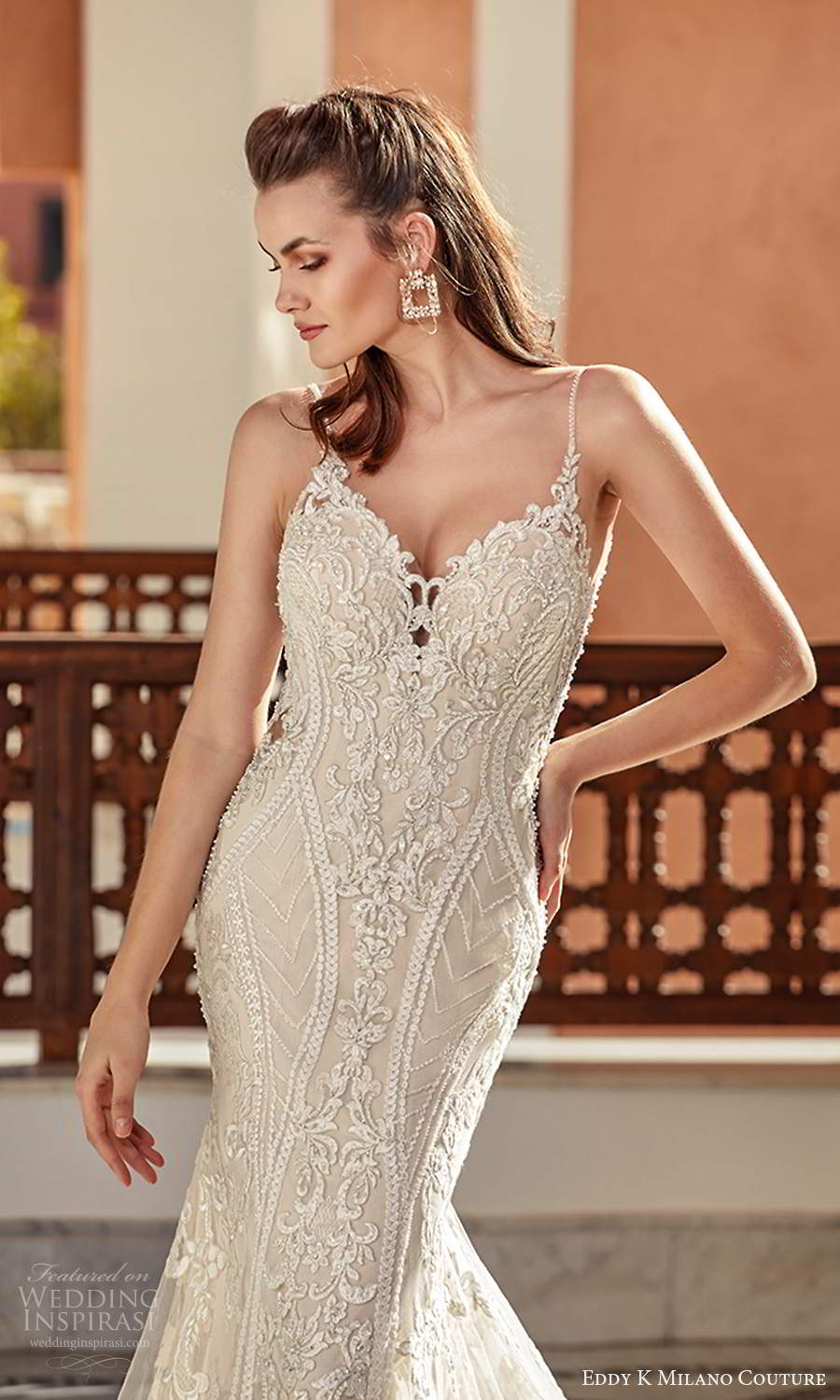 eddy k 2021 milano couture bridal sleeveless thin straps sweetheart neckline fully embellished sheath wedding dress chapel train (8) zv