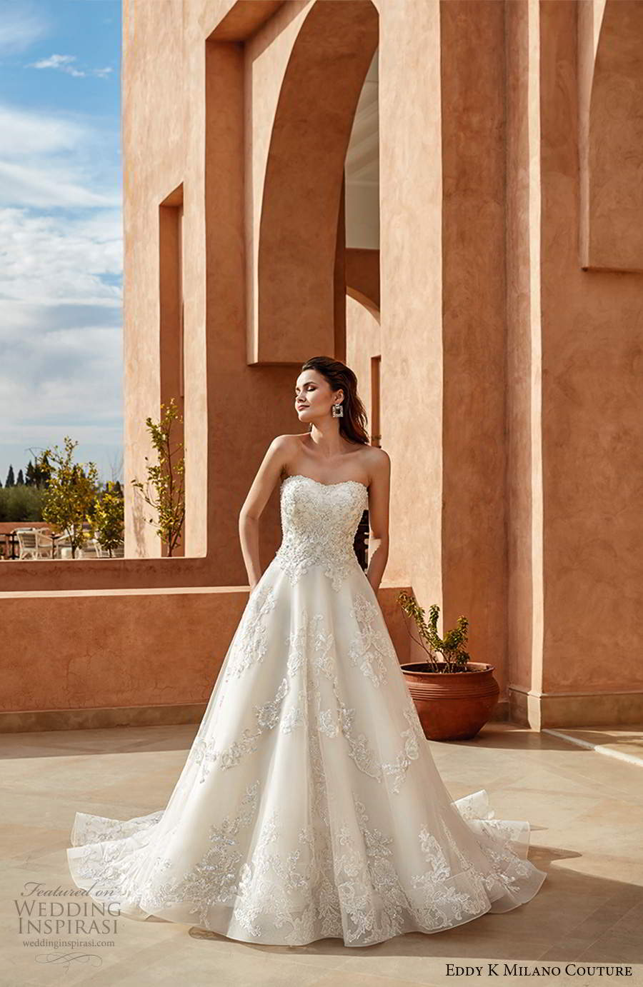 eddy k 2021 milano couture bridal strapless semi sweetheart neckline heavily embellished bodicy a line ball gown wedding dress chapel train (10) mv