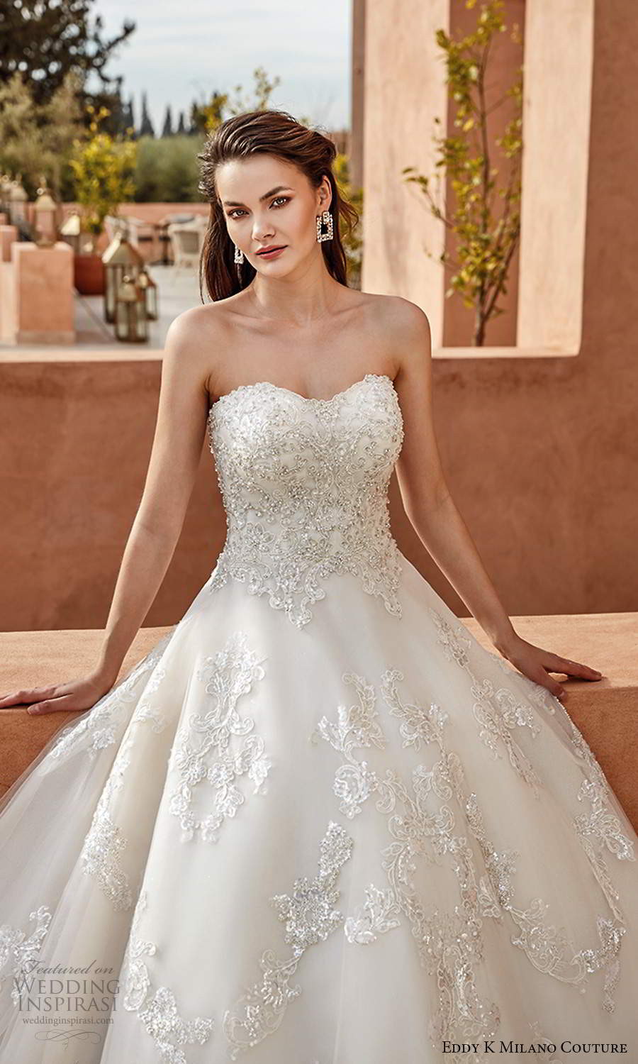 eddy k 2021 milano couture bridal strapless semi sweetheart neckline heavily embellished bodicy a line ball gown wedding dress chapel train (10) zv