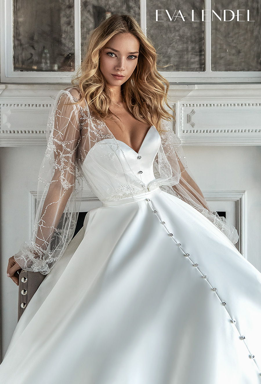 eva lendel 2021 bridal long bishop sleeves sweetheart neckline simple button front romantic a  line wedding dress with pockets mid back royal train (diora) zv