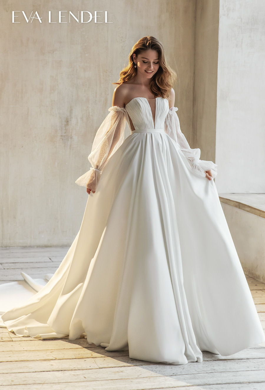 eva lendel 2021 bridal long poet sleeves off the shoulder deep plunging v neck simple romantic a line wedding dress mid back chapel train (josie) mv