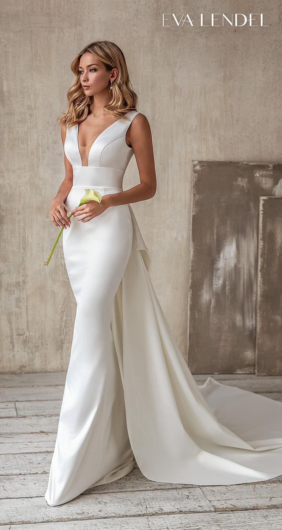 eva lendel 2021 bridal sleeveless deep v neck simple minimalist elegant modern fit and flare wedding dress backless ribbon back chapel train (debora) mv