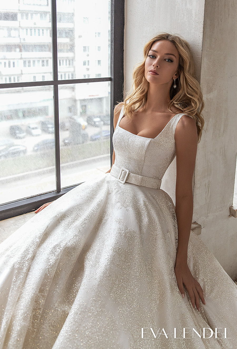 eva lendel 2021 bridal sleeveless square neckline light embellishment romantic elegant a line wedding dress square back chapel train (brie) zv