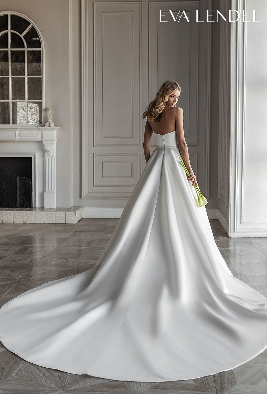 eva lendel 2021 bridal strapless sweetheart neckline simple button front romantic a  line wedding dress with pockets mid back royal train (diora) bv