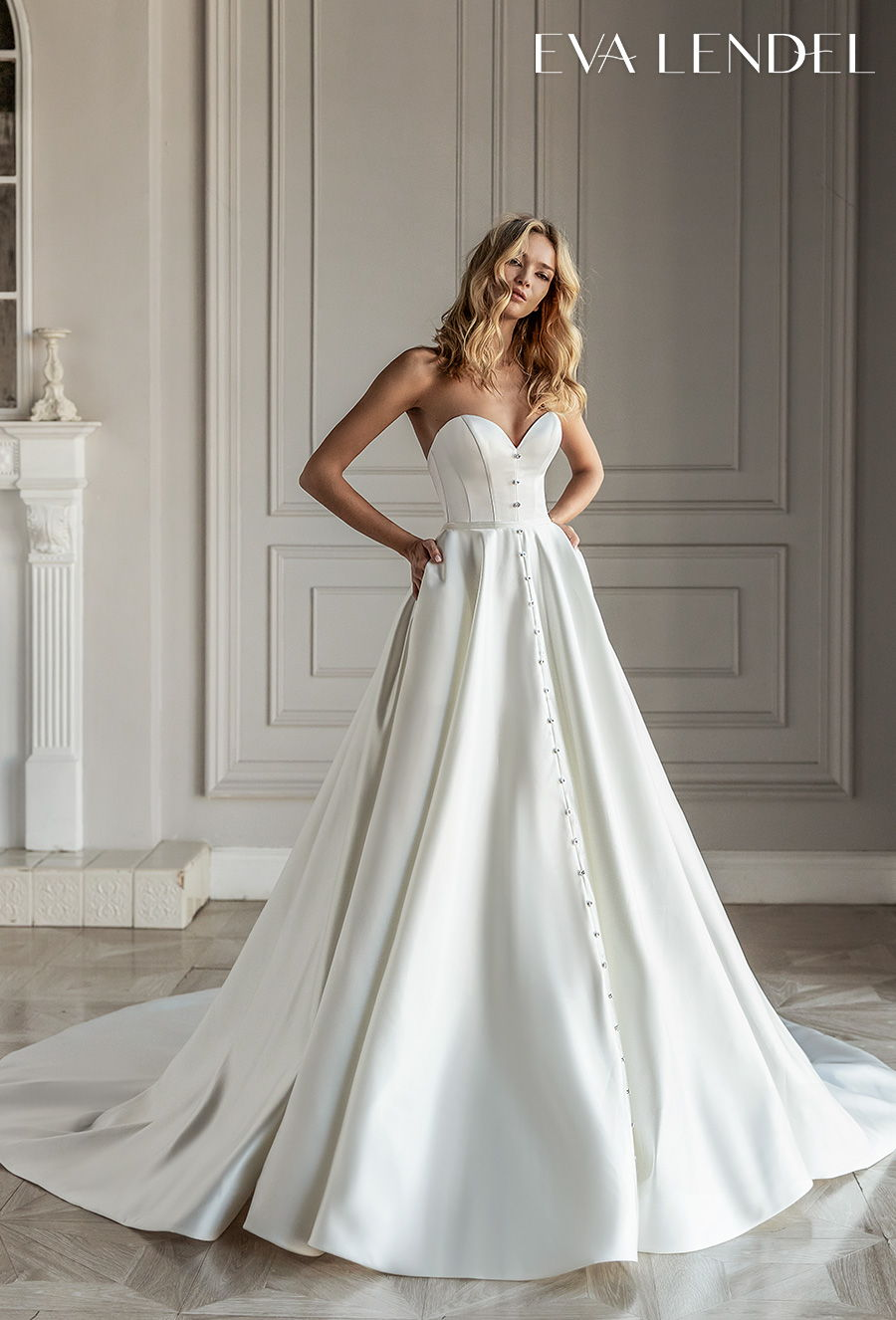 eva lendel 2021 bridal strapless sweetheart neckline simple button front romantic a  line wedding dress with pockets mid back royal train (diora) mv