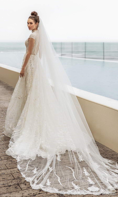 ida torez 2021 bridal cap sleeves high neckline cutout bodice fully embellished lace a line ball gown wedding dress chapel train (16) bv