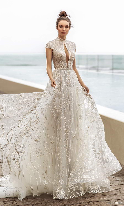 ida torez 2021 bridal cap sleeves high neckline cutout bodice fully embellished lace a line ball gown wedding dress chapel train (16) mv