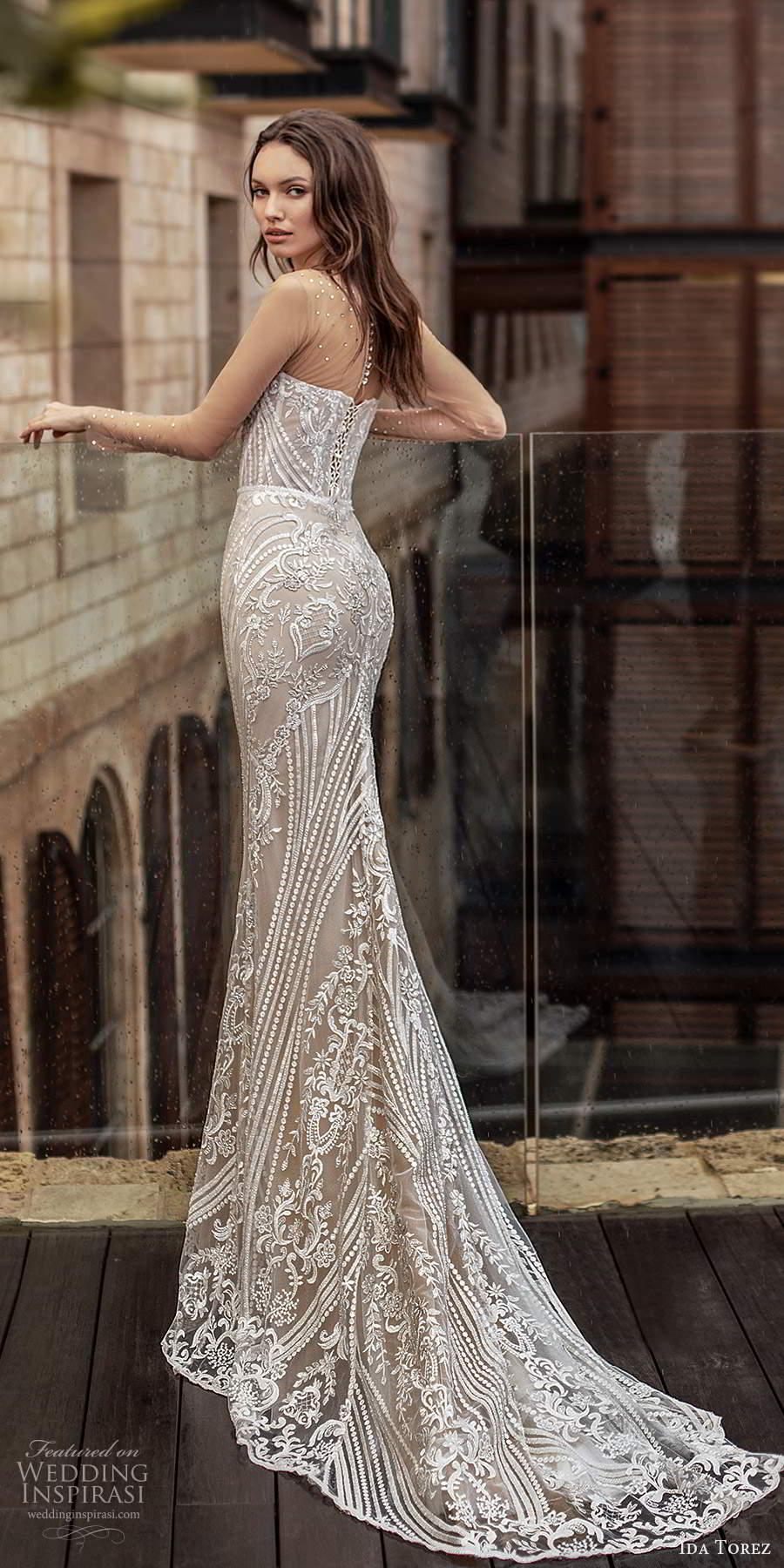 ida torez 2021 bridal illusion long sleeves sheer jewel sweetheart neckline fully embellished lace sheath wedding dress chapel train (14) bv