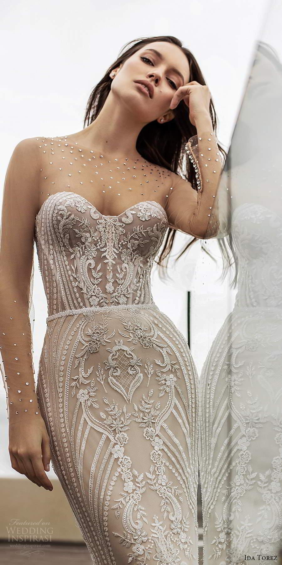 ida torez 2021 bridal illusion long sleeves sheer jewel sweetheart neckline fully embellished lace sheath wedding dress chapel train (14) zv