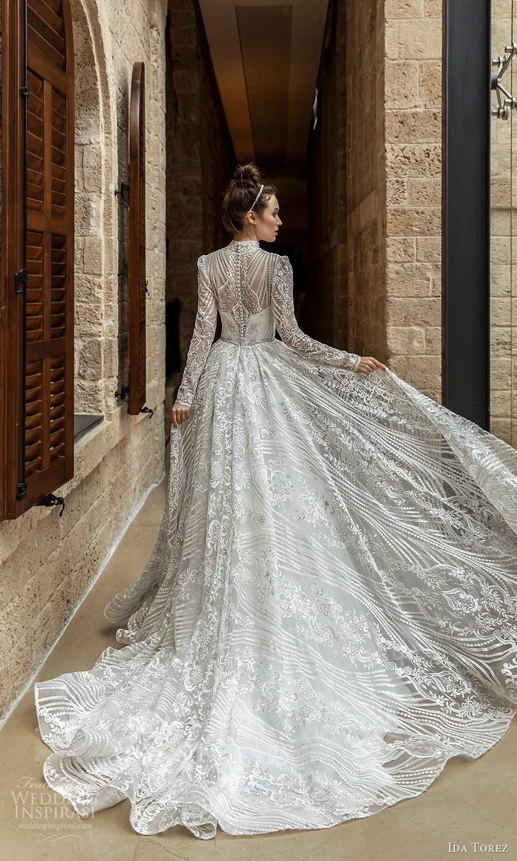 ida torez 2021 bridal long sleeve high neckline fully embellished lace a line ball gown wedding dress chapel train (9) bv