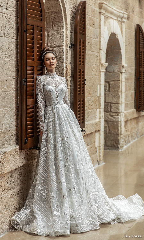 ida torez 2021 bridal long sleeve high neckline fully embellished lace a line ball gown wedding dress chapel train (9) mv