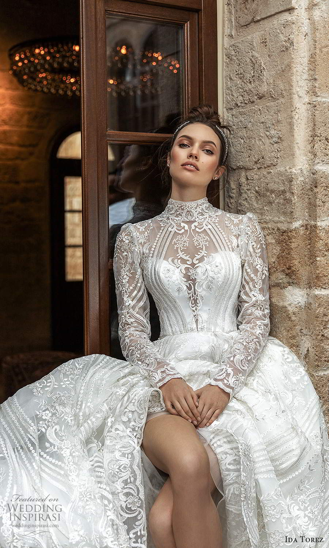 ida torez 2021 bridal long sleeve high neckline fully embellished lace a line ball gown wedding dress chapel train (9) zv
