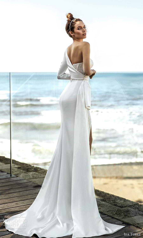 ida torez 2021 bridal long sleeves high asymmetric sweetheart neckline cutout embellished bodice sheath wedding dress sweep train (1) bv