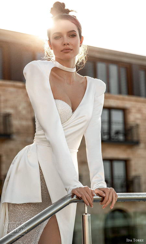 ida torez 2021 bridal long sleeves high asymmetric sweetheart neckline cutout embellished bodice sheath wedding dress sweep train (1) zv