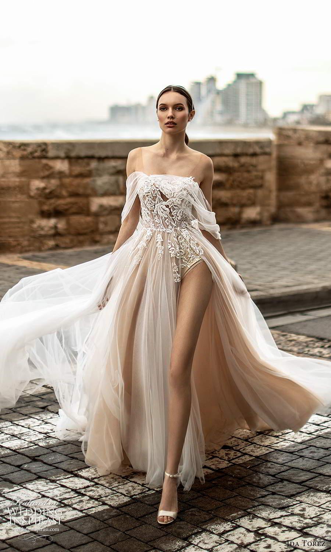 ida torez 2021 bridal off shoulder straps straight across neckline embellished bodice a line wedding dress slit skirt blush (4) mv