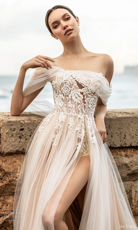 ida torez 2021 bridal off shoulder straps straight across neckline embellished bodice a line wedding dress slit skirt blush (4) zv