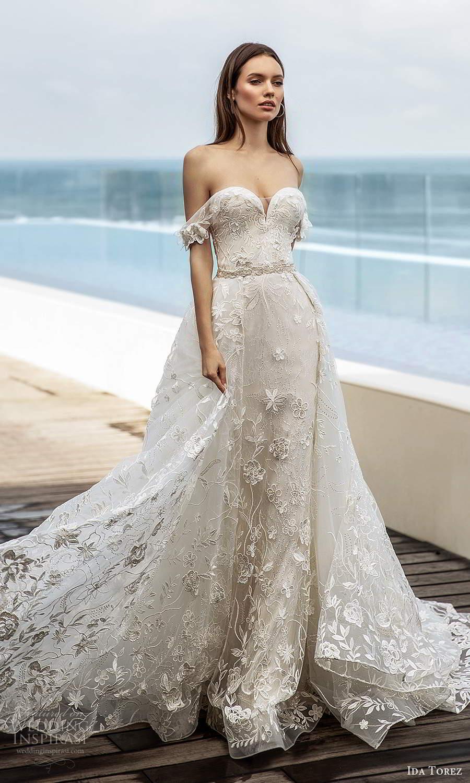 ida torez 2021 bridal off shoulder straps sweetheart neckline fully embellished lace sheath wedding dress a line overskirt chapel train (13) mv