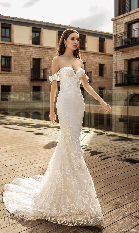 ida torez 2021 bridal off shoulder straps sweetheart neckline fully embellished lace sheath wedding dress chapel train (13) mv