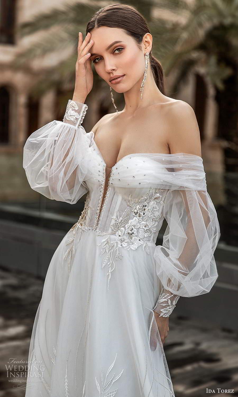 ida torez 2021 bridal sheer bishops sleeves off shoulder sweetheart neckline embellished a line ball gown wedding dress chapel train (6) zv