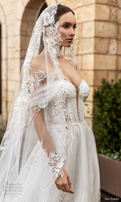 ida torez 2021 bridal sheer bishops sleeves off shoulder sweetheart neckline embellished a line ball gown wedding dress chapel train veil (6) zv