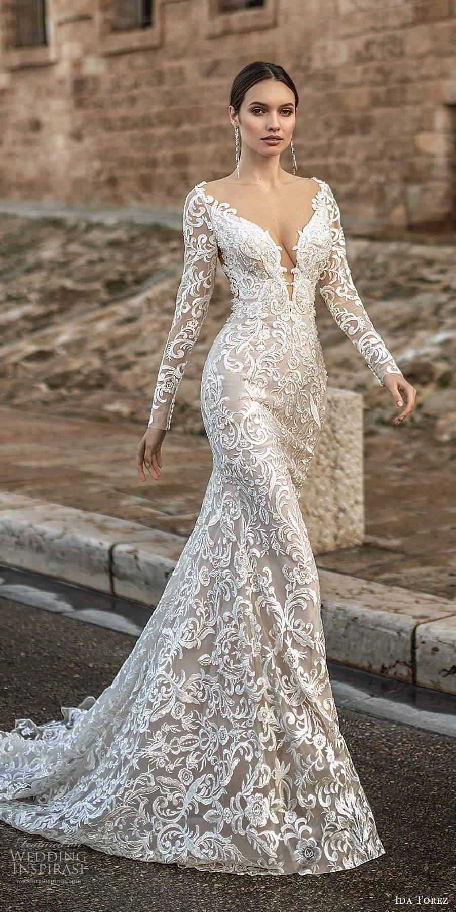 ida torez 2021 bridal sheer long sleeves plunging v neckline fully embellished lace sheath wedding dress sheer back chapel train (2) mv