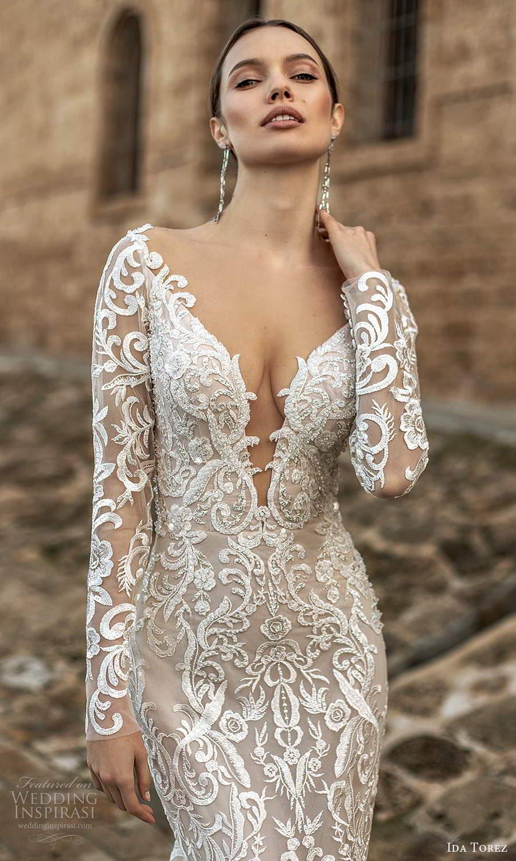 ida torez 2021 bridal sheer long sleeves plunging v neckline fully embellished lace sheath wedding dress sheer back chapel train (2) zv