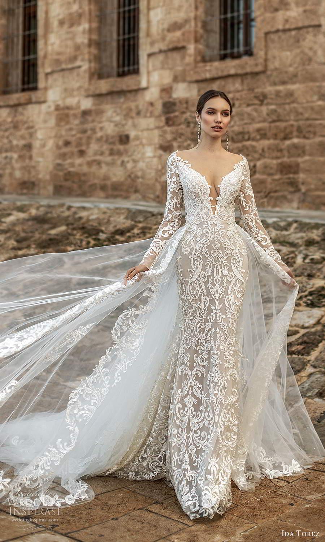 ida torez 2021 bridal sheer long sleeves plunging v neckline fully embellished lace sheath wedding dress sheer back chapel train overskirt (2) mv