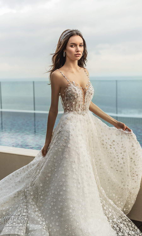 ida torez 2021 bridal sleeveless beaded straps plunging v neckline fully embellished a line ball gown wedding dress chapel train (3) sv