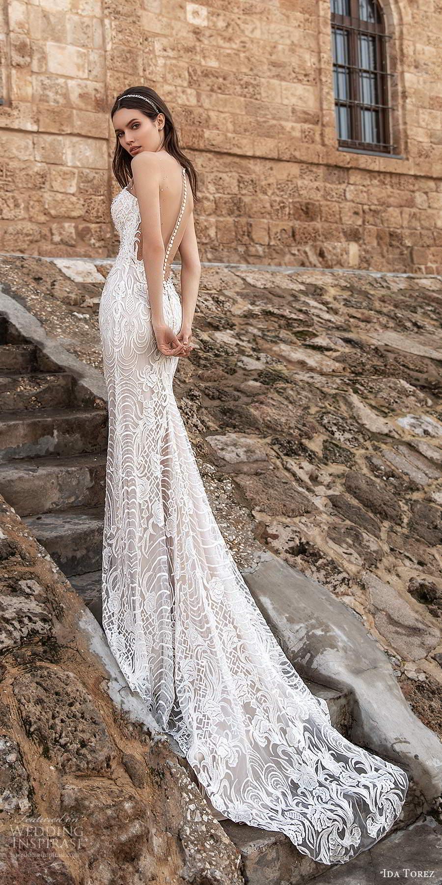 ida torez 2021 bridal sleeveless illusion straps plunging v neckline fully embellished lace sheath wedding dress chapel train (10) bv