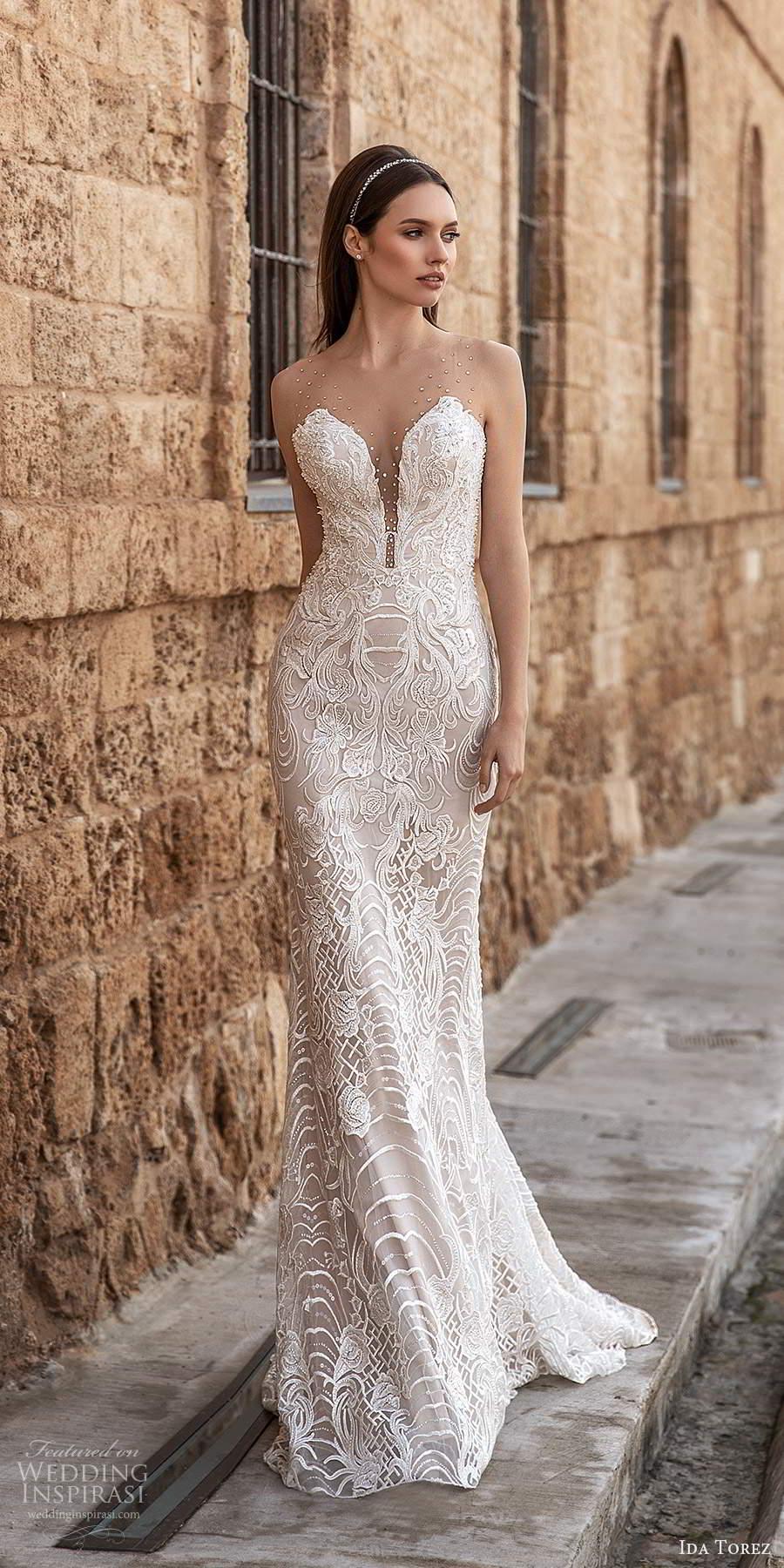 ida torez 2021 bridal sleeveless illusion straps plunging v neckline fully embellished lace sheath wedding dress chapel train (10) mv