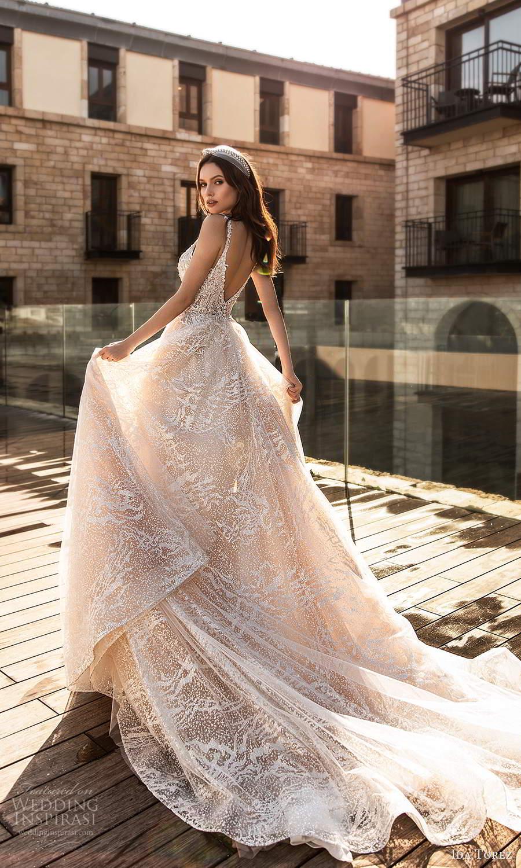 ida torez 2021 bridal sleeveless straps plunging neckline fully embellished a line ball gown wedding dress blush chapel train (7) bv