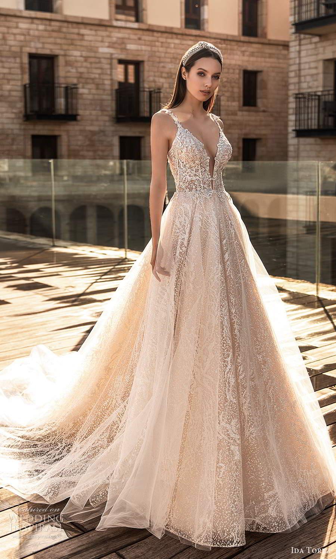 ida torez 2021 bridal sleeveless straps plunging neckline fully embellished a line ball gown wedding dress blush chapel train (7) mv